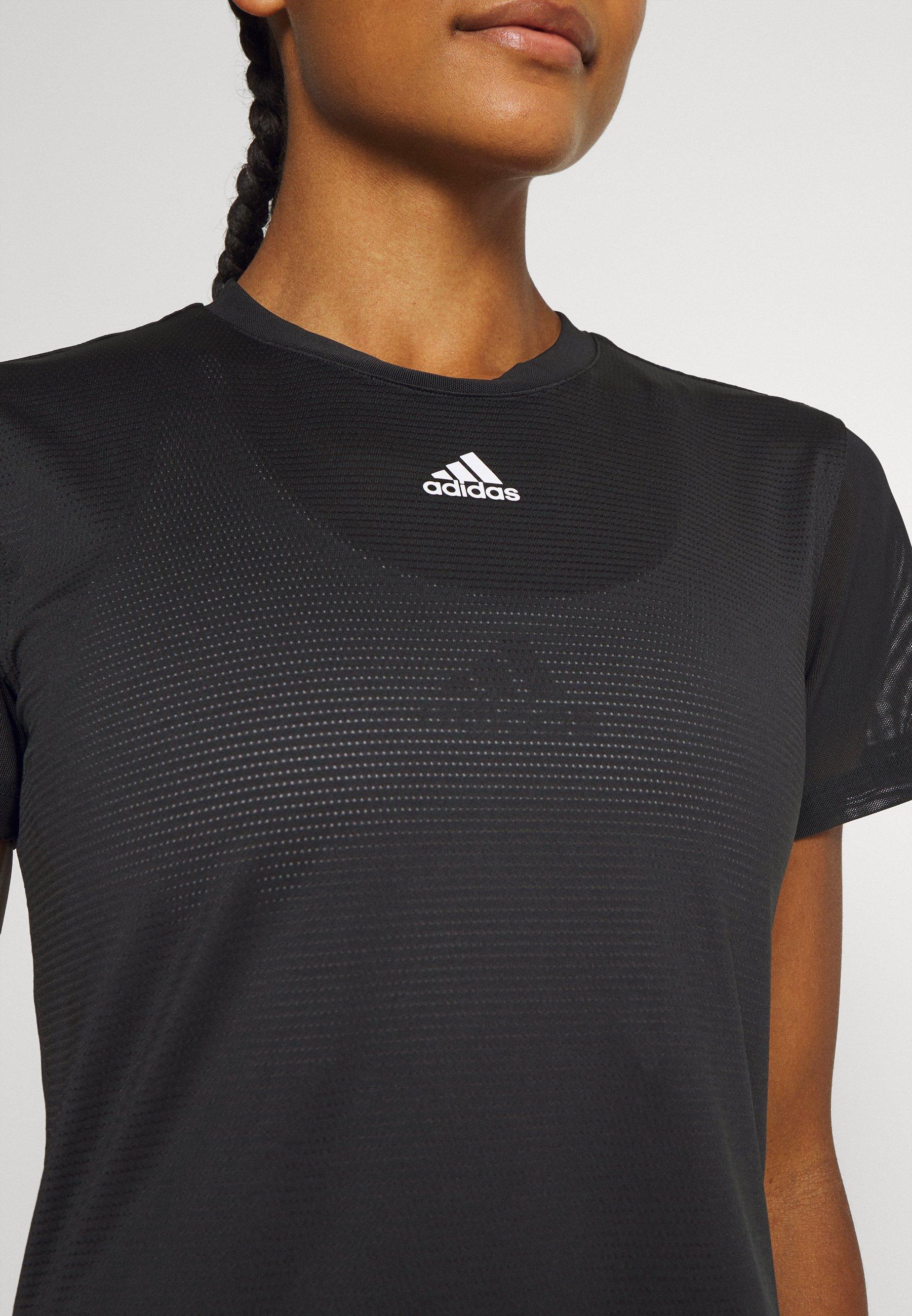 adidas Performance TEE - Print T-shirt - black/white z4tvi