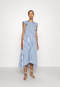 3.1 Phillip Lim - DRAPED HANDKERCHIEF COLLAR GATHERED WAIST DRESS - Day dress - blue/ivory - 0