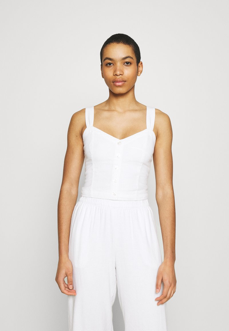 Abercrombie & Fitch - PLEATED WIDE STRAP BUTTON THRU - Top - white