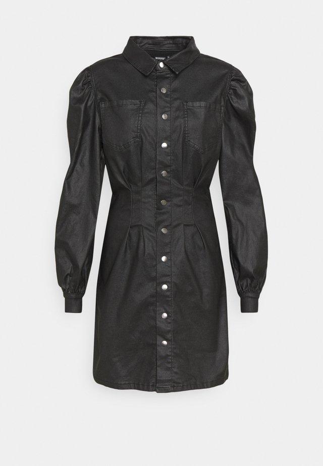 COATED CINCHED WAIST DRESS - Shirt dress - black