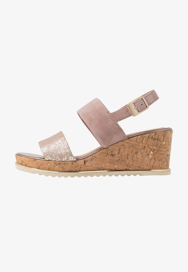 Sandalen met plateauzool - rose/gold
