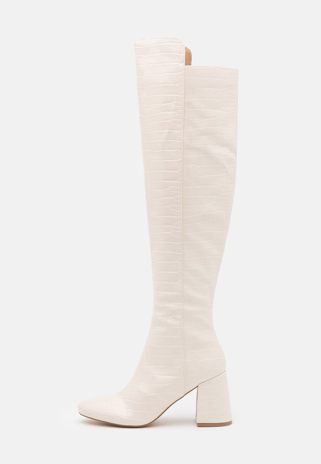 FLARED HEEL BOOT - Over-the-knee boots - cream
