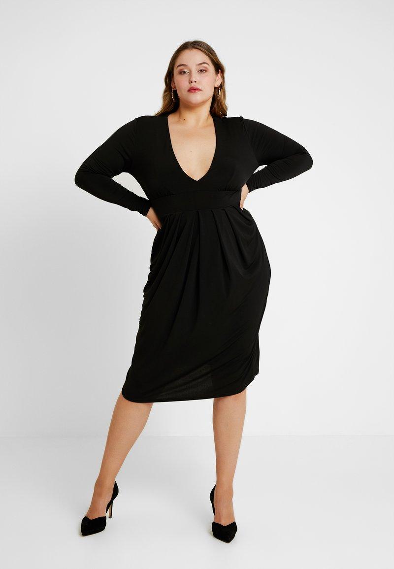 Simply Be - PLUNGE MIDI DRESS - Denní šaty - black