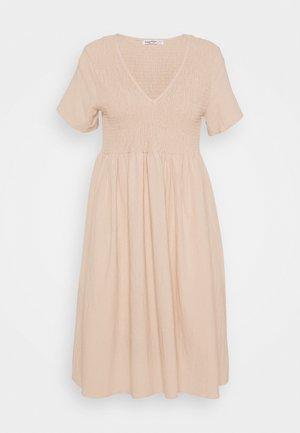 SMOCKED MIDI DRESSES WITH SHORT SLEEVES LOW V NECK - Day dress - stone