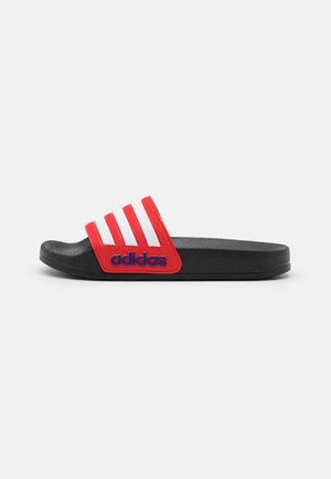 ADILETTE SHOWER UNISEX - Pool slides - core black/footwear white/vivid red