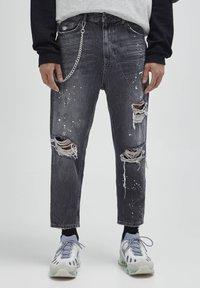 PULL&BEAR - Jeans baggy - mottled dark grey - 0