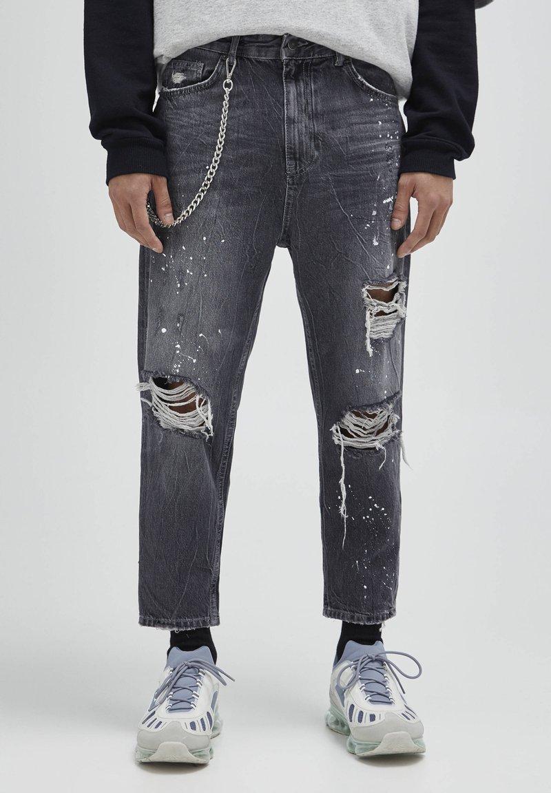 PULL&BEAR - Jeans baggy - mottled dark grey