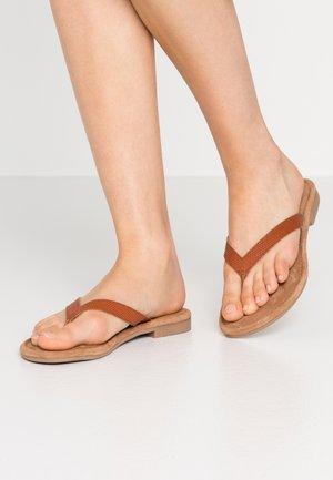 SLIDES - T-bar sandals - cognac