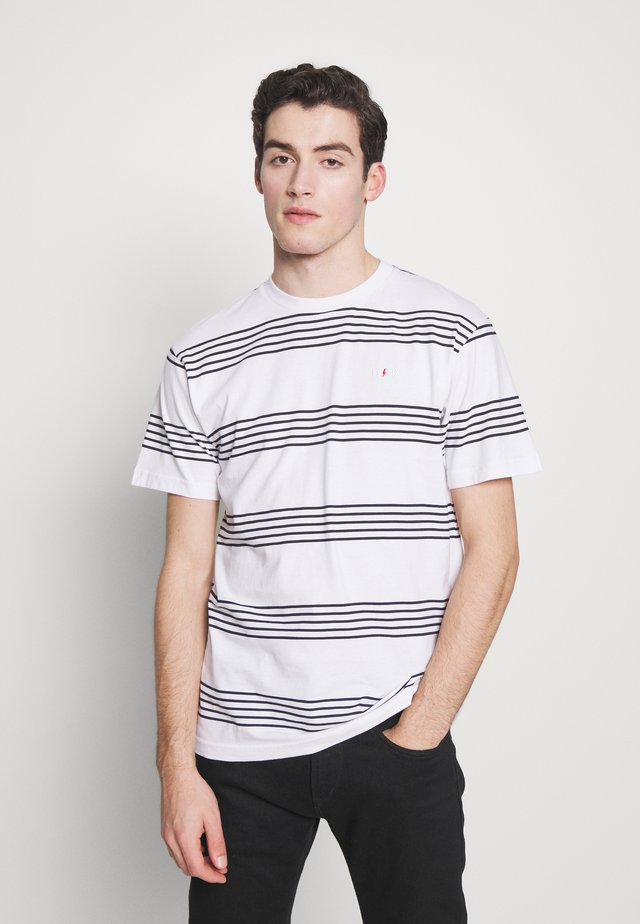 DOUBLE STRIPE - Camiseta estampada - white / navy