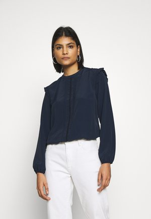 BILLIE & BLOSSOM LONG SLEEVE PINTUCK TOP - Blusa - navy
