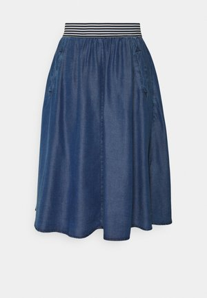 SKIRT SHORT - Áčková sukně - mid blue denim
