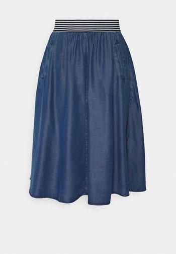 SKIRT SHORT - A-line skirt - mid blue denim