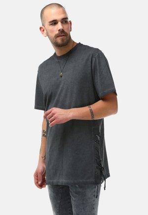 SIDE LACED OIL WASHED T-SHIRT - T-shirt basic - anthrazite