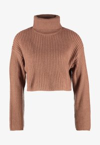 Missguided Petite - ROLL NECK CROP JUMPER - Strickpullover - mocha - 4