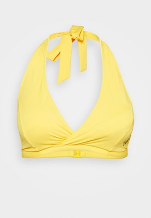 ONE HALTER NECK TRIANGLE - Bikini top - hazard yellow