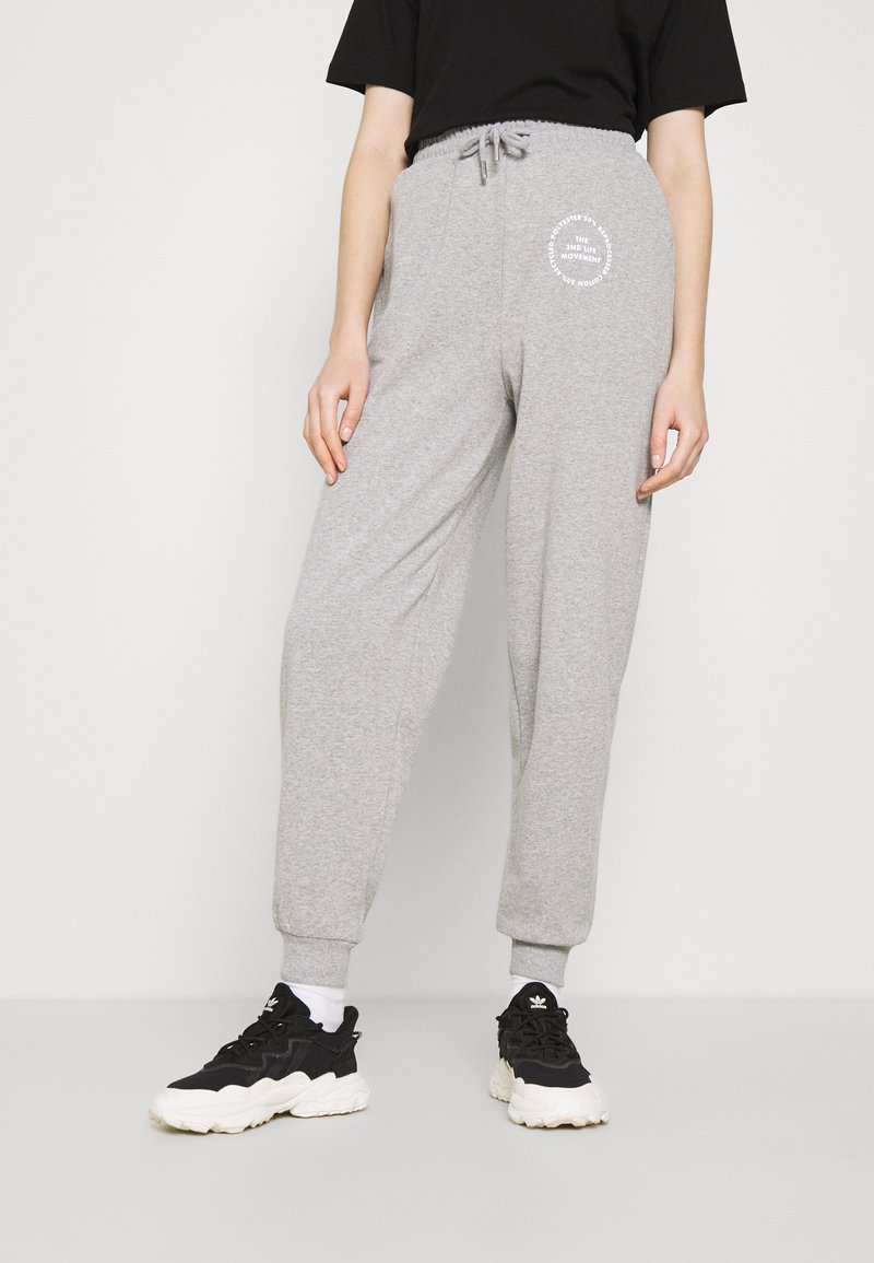 Topshop - JOGGER WITH GRAPHIC - Tracksuit bottoms - grey