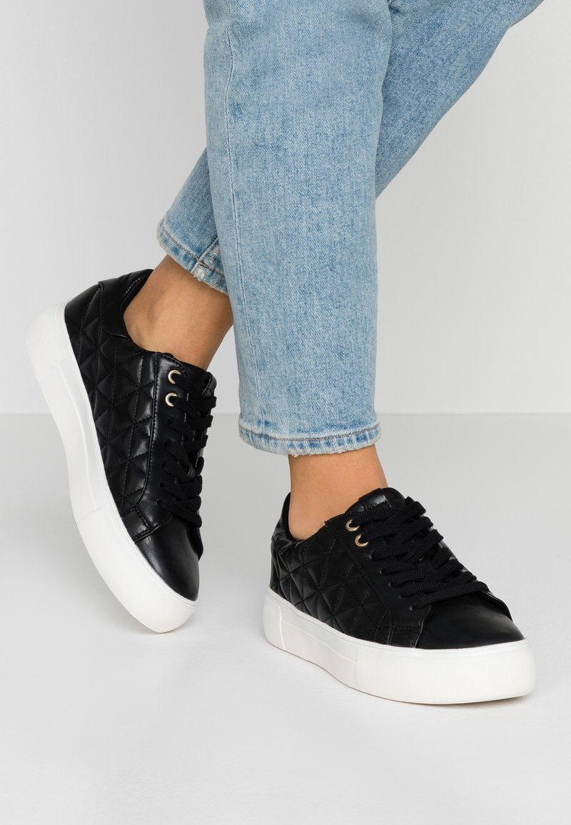 Dorothy Perkins - LOLA SKYE LIZZIE LACE UP QUILTED TRAINER - Trainers - black