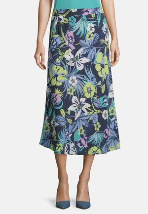 MIT AUFDRUCK - A-line skirt - dark blue/green