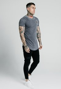 SIKSILK - BURNOUT ROLL SLEEVE TEE - Basic T-shirt - grey - 1