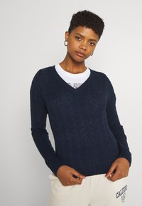 Hollister Co. - ICON CABLE V NECK - Jumper - navy - 3