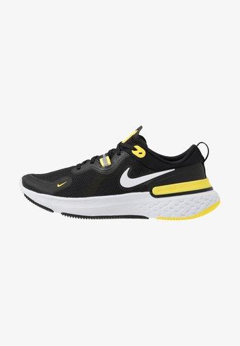 REACT MILER - Juoksukenkä/neutraalit - black/white/opti yellow/dark grey