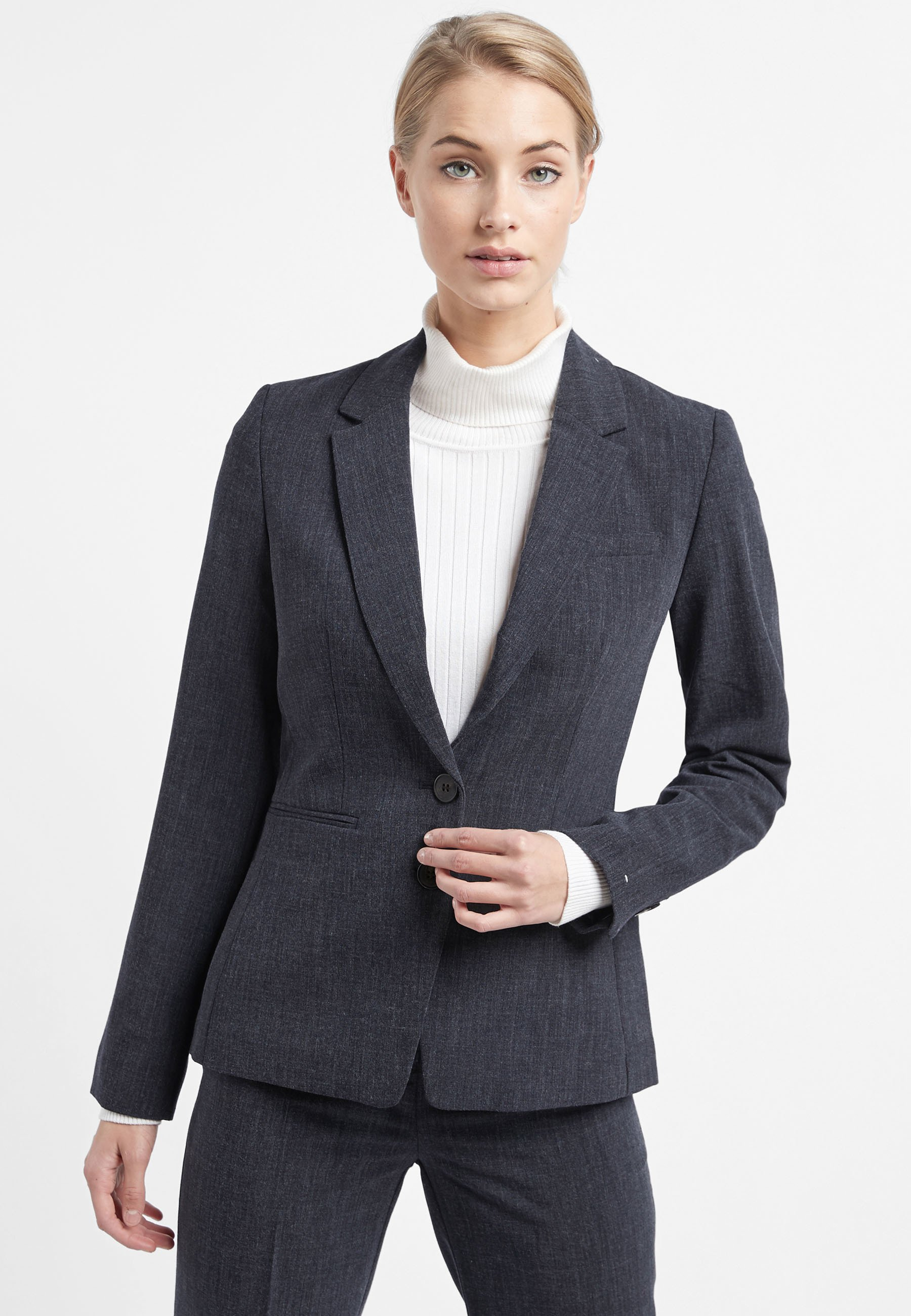 Mujer NAVY MARL SINGLE BREASTED TAILORED FIT JACKET - Blazer
