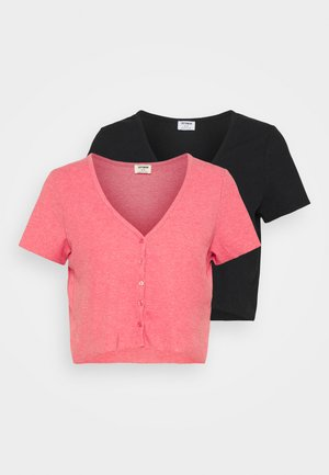 JANET BUTTON THROUGH SHORT SLEEVE 2 PACK - Print T-shirt - pink topaz marle/black