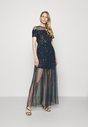 ALL OVER EMBELLISHED MAXI DRESS WITH MINI LINING - Vestido de fiesta - navy