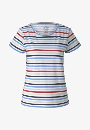 T-shirt z nadrukiem - navy red multicolor stripe