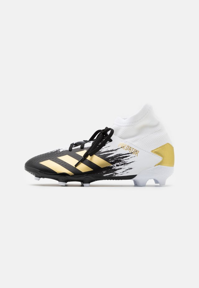 PREDATOR 20.3 FOOTBALL BOOTS FIRM GROUND UNISEX - Voetbalschoenen met kunststof noppen - footwear white/gold metallic/core black
