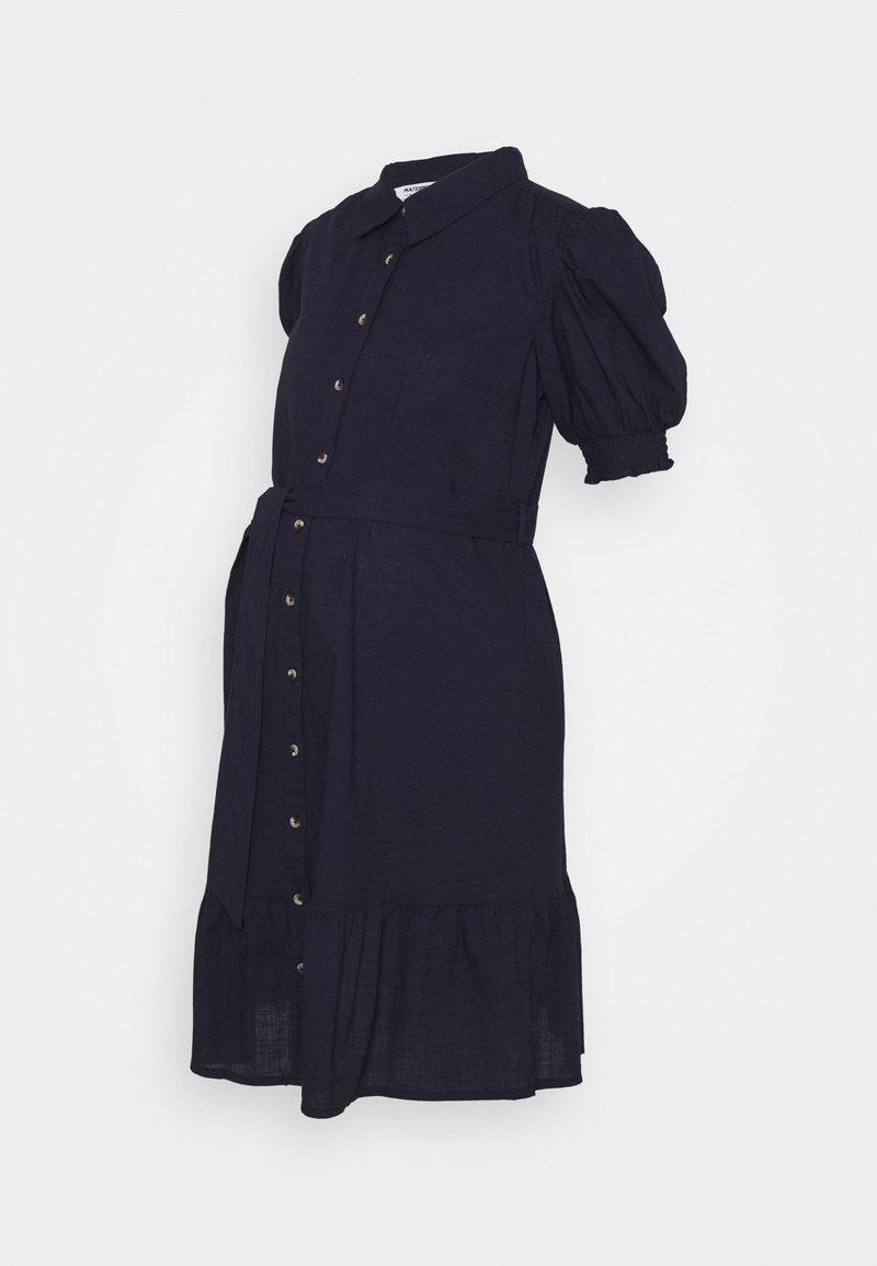 Dorothy Perkins Maternity - PUFF SLEEVE SHIRT DRESS - Denní šaty - navy