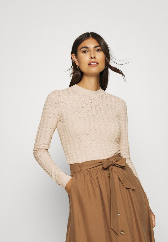 POINTELLE JUMPER - Jumper - light tan melange