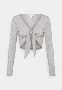 Topshop - TIE FRONT BRUSHED - Long sleeved top - grey marl - 4