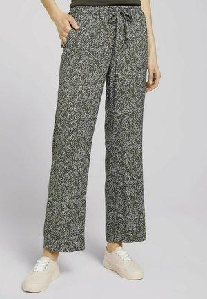 Trousers - khaki white outline leaves