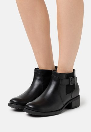 WIDE FIT ELASTIC BUCKLE - Ankle boots - black