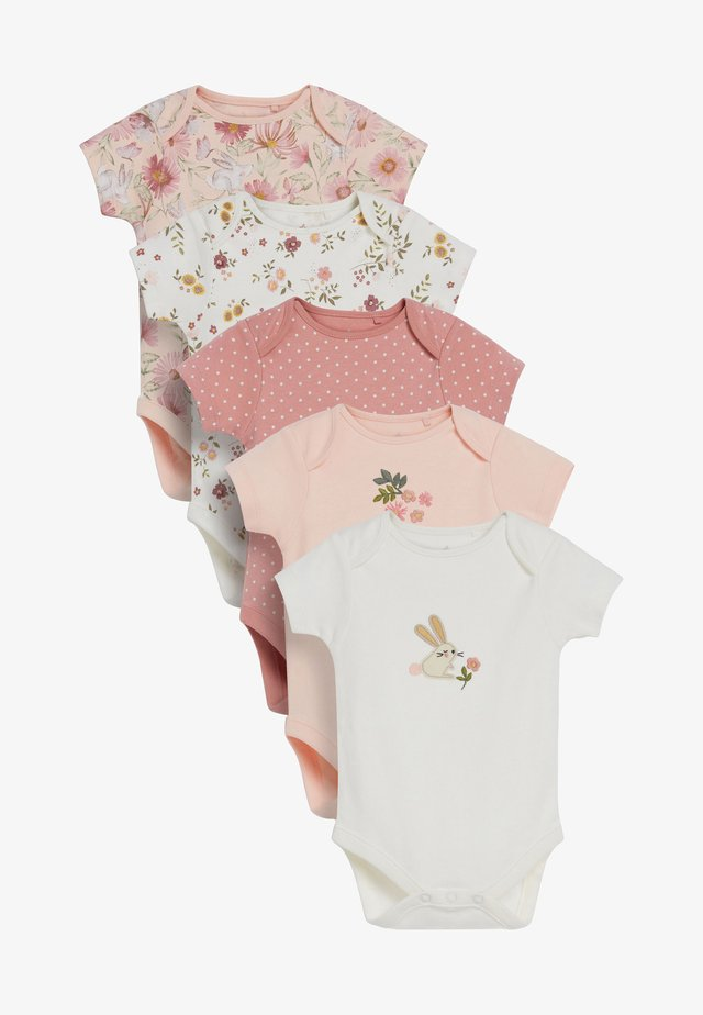 5 PACK FLORAL CHARACTER SHORT SLEEVE BODYSUITS  - Baby gifts - off-white