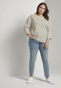 MY TRUE ME TOM TAILOR - Long sleeved top - khaki ecru horizontal stripe - 1