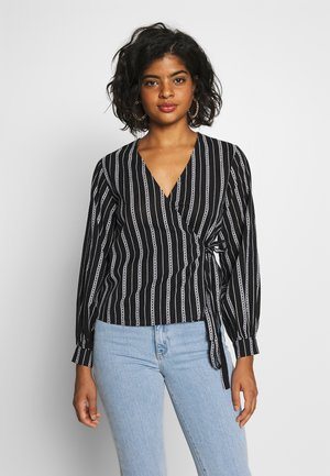 OBJDEEDEE WRAP TOP - Blouse - black/white embroidery