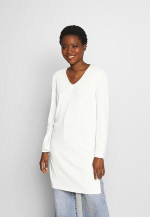 LONG DRESS, ZIPPER DETAILS, HIGH SIDE SLITS - Svetr - natural white
