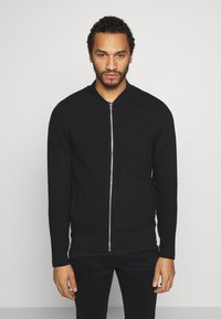 Jack & Jones PREMIUM - JPRGERAD ZIP CREW NECK - Cardigan - black - 0