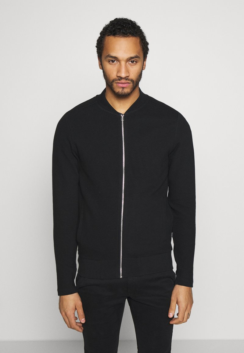 Jack & Jones PREMIUM - JPRGERAD ZIP CREW NECK - Cardigan - black