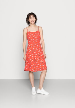 STRAPPA FIT AND FLARE - Day dress - red/white