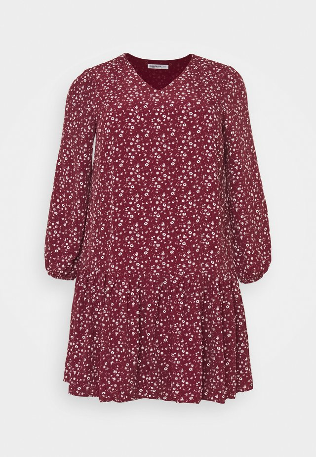 VNECK SMOCK DRESS - Day dress - maroon ditsy
