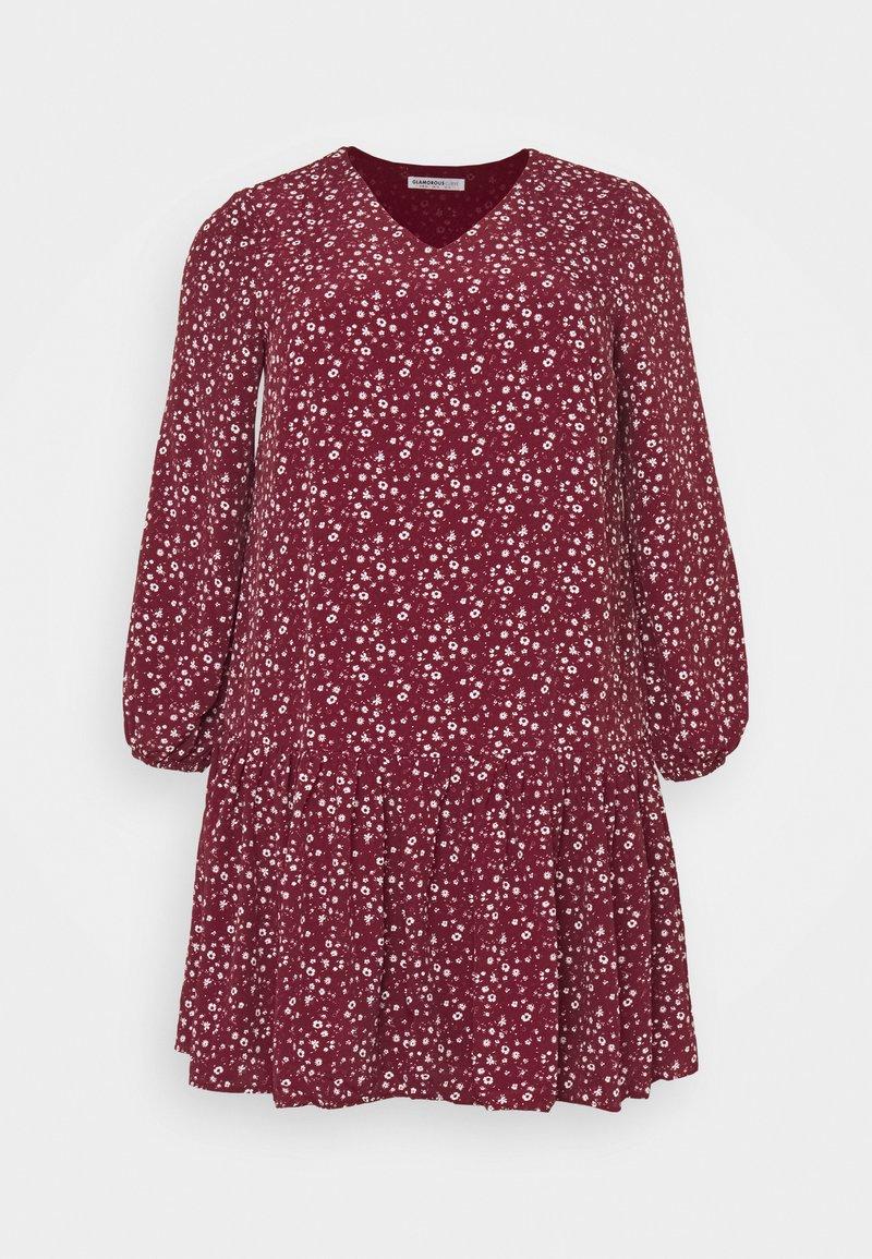 Glamorous Curve - VNECK SMOCK DRESS - Day dress - maroon ditsy