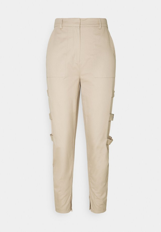 SIDE DETAILED PANTS - Trousers - beige