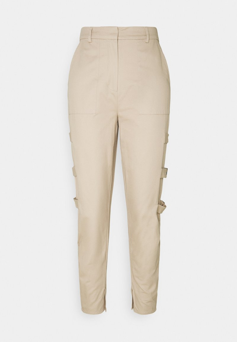 NA-KD - SIDE DETAILED PANTS - Trousers - beige