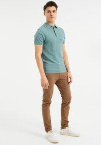 WE Fashion - MET STRUCTUUR - Poloshirt - greyish green - 1