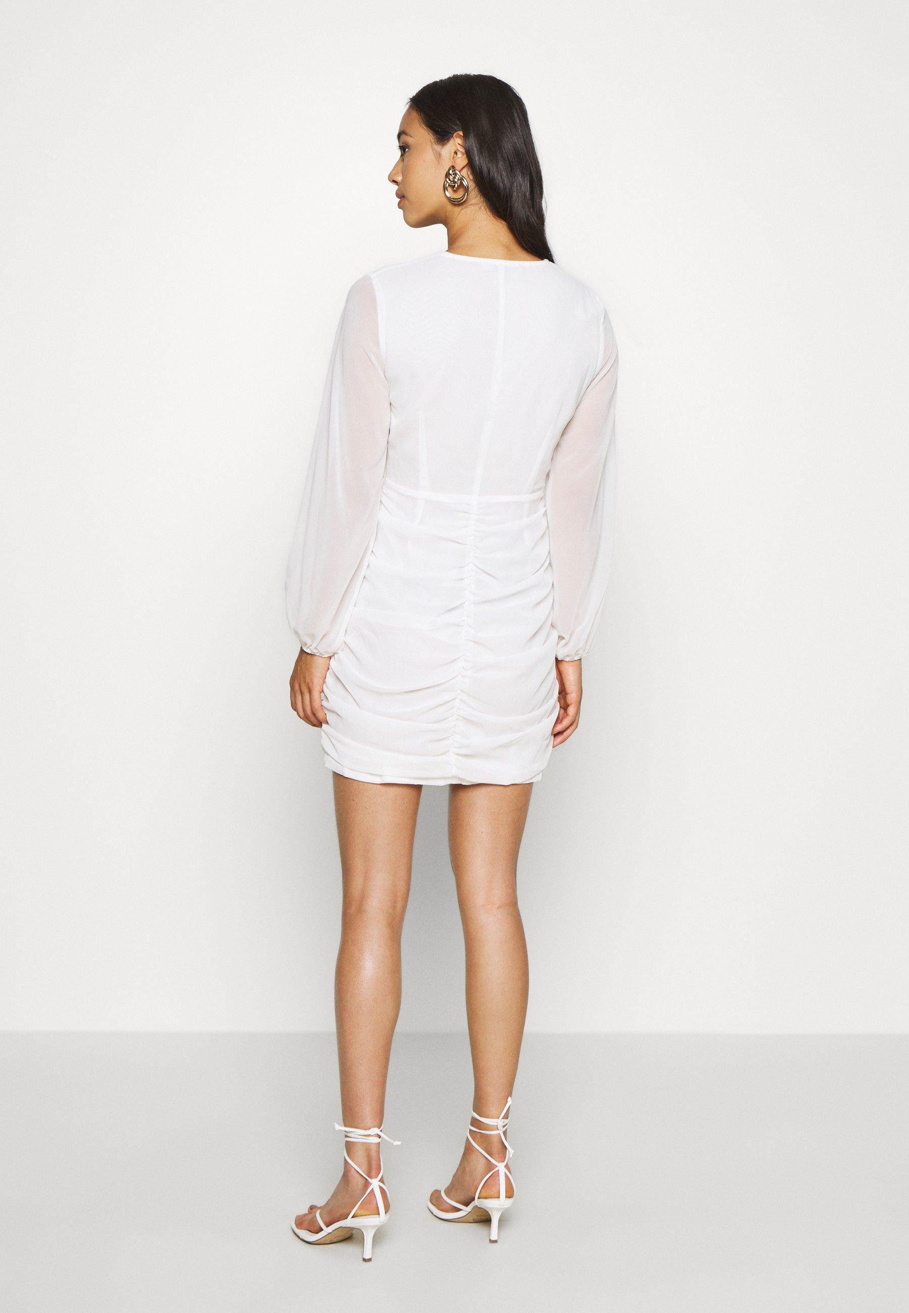 NAKD GATHERED BALLOON SLEEVE DRESS Cocktailkleid/festliches Kleid white/weiß