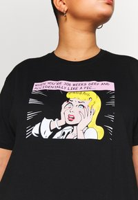 Even&Odd Curvy - T-Shirt print - black/white/beige - 5