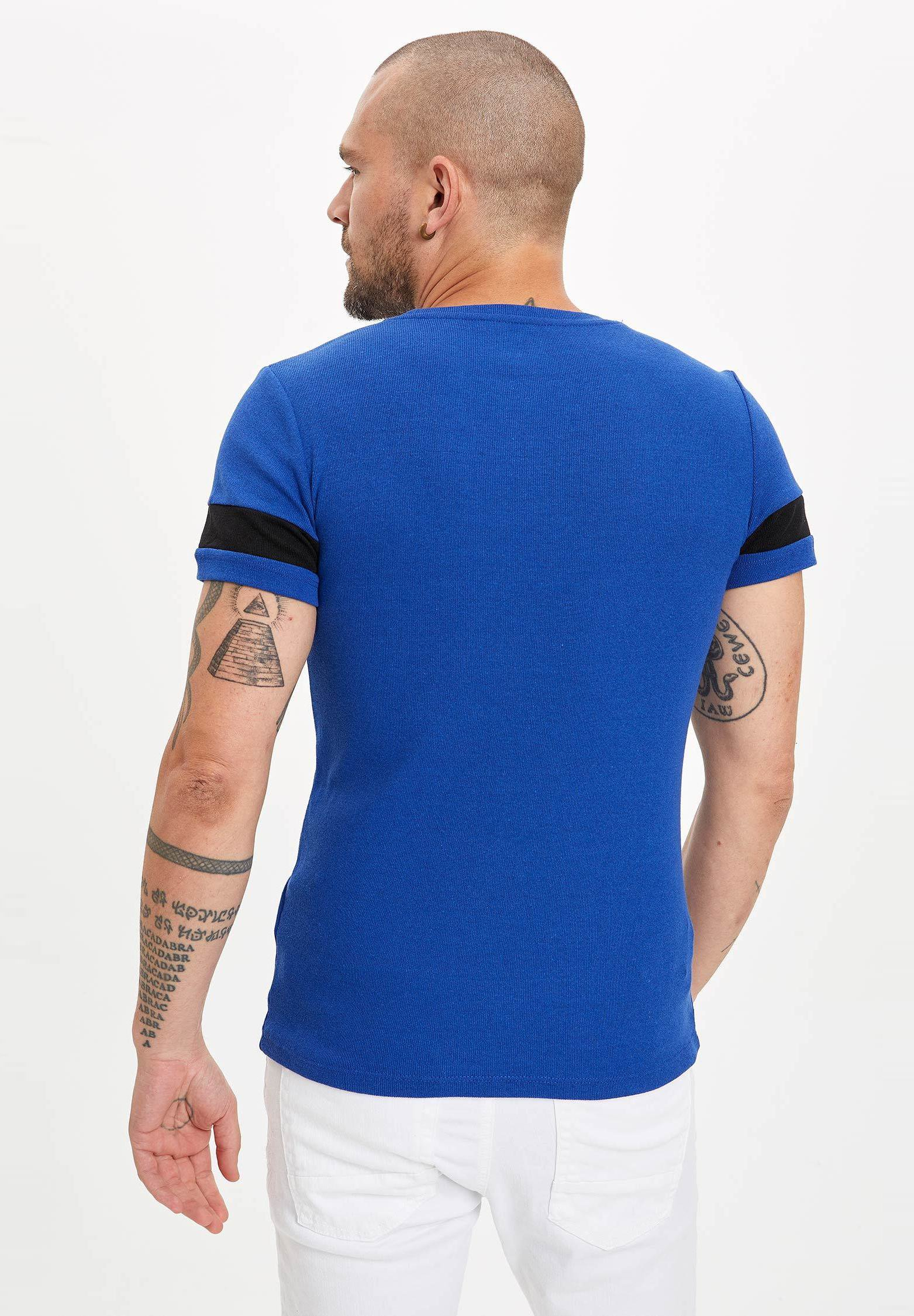 DeFacto Basic T-shirt - blue L0gG5